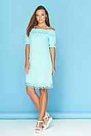 """Свободное летнее короткое платье с открытыми плечами, кружевом и бантом на спинке """"Ярина 2"""" минт"""