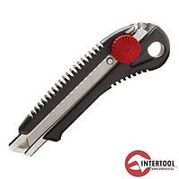 Ніж прорізний з металевою направляючою та лезом-18мм InterTool (гвинтовий фіксатор)