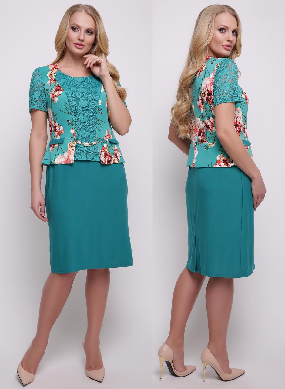 4a879390627 Платье женское больших размеров летнее классическое деловое трикотаж масло  и гипюр