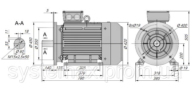 АИР200L6 / АИР 200 L6 / IM 2081 / IM2081 / комб / комбинированный / фланцевый / 30 кВт / 1000 об/мин