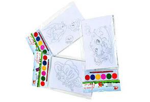Набір картин для розмальовки: розмальовки + фарби + пензлик CS811/CS125