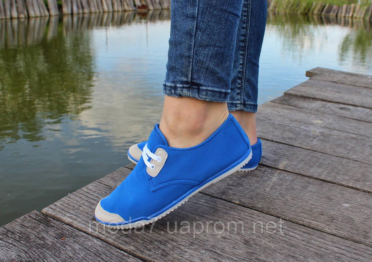Женские - подростоквые мокасины - чешки, летние голубые
