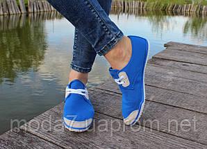 Женские - подростоквые мокасины - чешки, летние голубые, фото 3