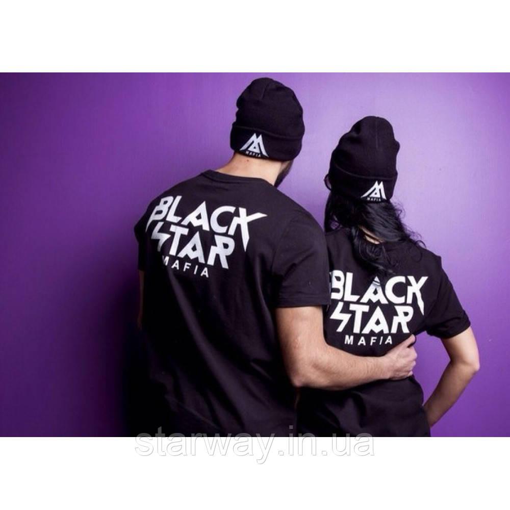 Футболка чёрная Black Star Mafia лого   Стильная