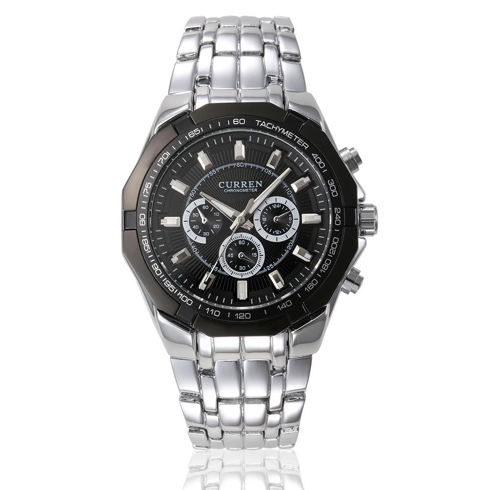 Мужские Часы Наручные Кварцевые Классические Curren (8084-1) 3 АТМ Серебряные с Черным Циферблатом