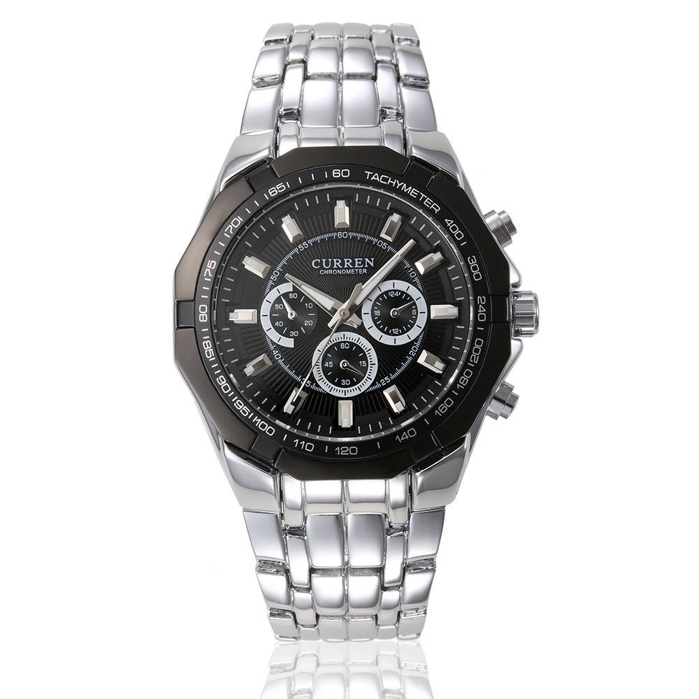 Мужские наручные часы Curren 8084 кварцевые серебристые с черным