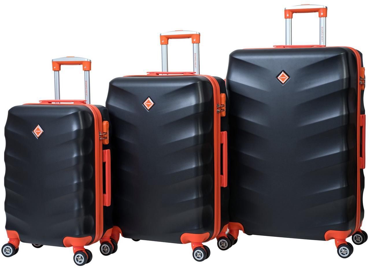 Набор чемоданов на колесах Bonro Next Черный 3 штуки