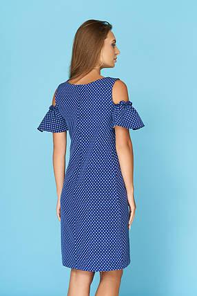 Летнее платье средней длины рукав с воланом цвет электрик в горошек, фото 2