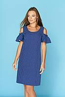 Летнее платье средней длины рукав с воланом цвет электрик в горошек