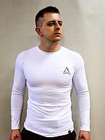 Футболка мужская HUMMOCK белая спортивная с длинным рукавом