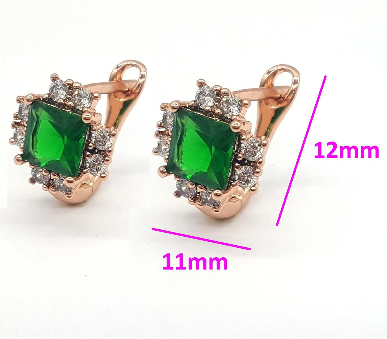 Сережки Квадрат із зеленим цирконієм, англ.замок, позолота Xuping, 14К