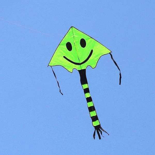 Воздушный змей со смайликом (зеленый)