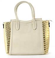 Вместительная прочная модная сумка из эко кожи высокого качества  art. 6024 бежевая/золото, фото 1