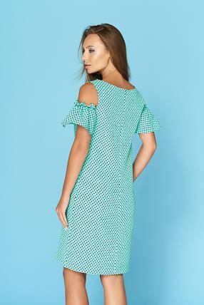 Повседневное платье миди с открытым плечом бирюзовое, фото 2