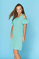 Повседневное платье миди с открытым плечом бирюзовое