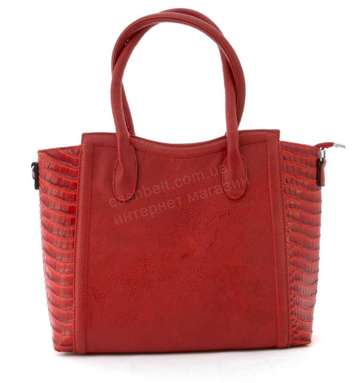 Вместительная прочная модная сумка из эко кожи высокого качества  art. 6024 красная