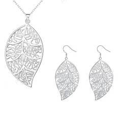 Жіночий комплект біжутерії (кольє, сережки) Ажурні листя покриття срібло 925