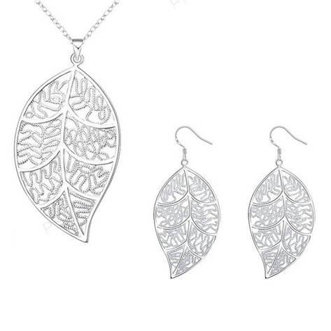 Жіночий комплект біжутерії (кольє, сережки) Ажурні листя покриття срібло 925, фото 2