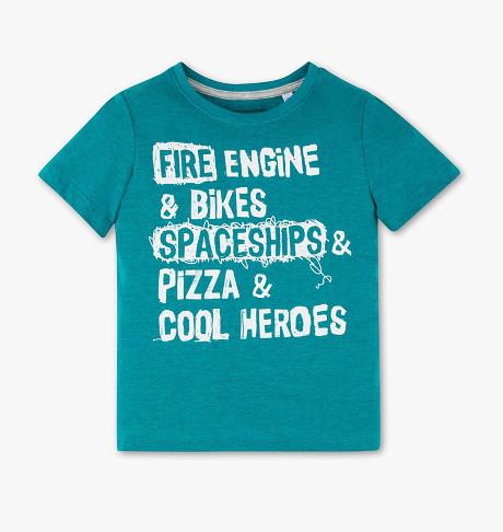 Зеленая футболка с надписями на мальчика  6-7 лет C&A Германия Размер 122