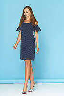 Летнее платье выше колена с рюшами темно-синее