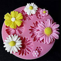 Молд силиконовый цветы Ромашки Васильки