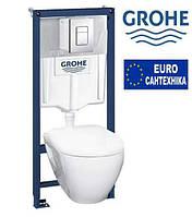 GROHE Solido Perfect набор 4в1 инстал. 38772001,подвесным унитазом с сидением Soft-close