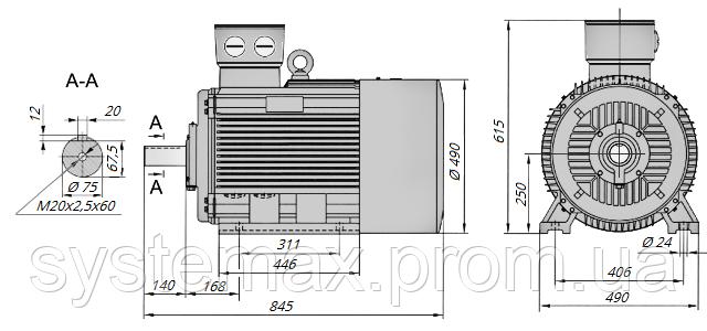 АИР250S4 / АИР 250 S4 / IM 1081 / IM1081 | лапы / лаповый / на лапах / 75 кВт / 1500 об/мин