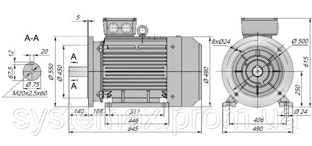 АИР250S4 / АИР 250 S4 / IM 2081 / IM2081 / комб / комбинированный / фланцевый / 75 кВт / 1500 об/мин