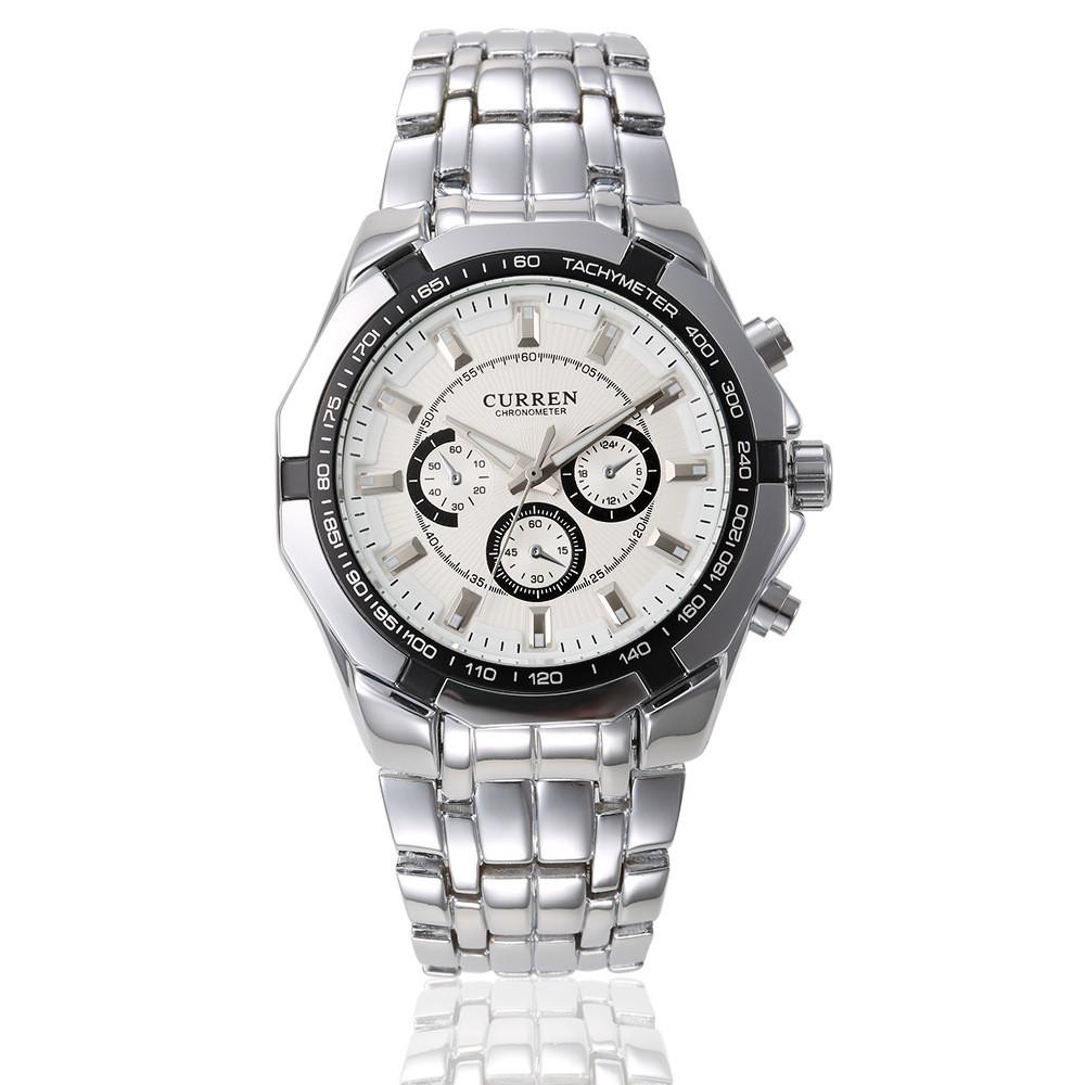 Мужские Часы Наручные Кварцевые Классические Curren (8084-2) 3 АТМ Серебряные с Белым Циферблатом
