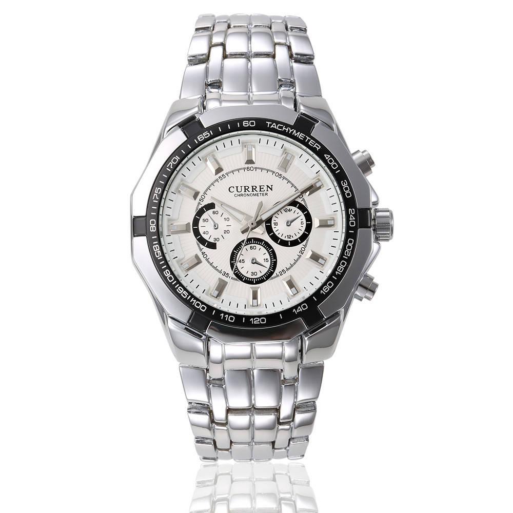 Мужские наручные часы Curren 8084 кварцевые серебристые с белым