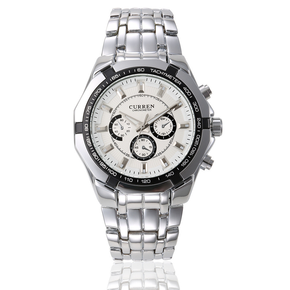 Мужские наручные часы Curren 8084 кварцевые серебристые с белым - Интернет магазин Levski в Полтаве