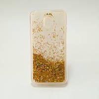 Силиконовый чехол на Samsung J3 2017 J330H Gold жидкий с сыпучими блёстками