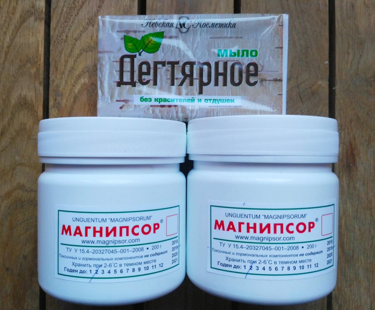 Магнипсор (200) 2 банки мази и в подарок Мыло твердое Дегтярное с берёзовым дегтем, 140 г. Набор
