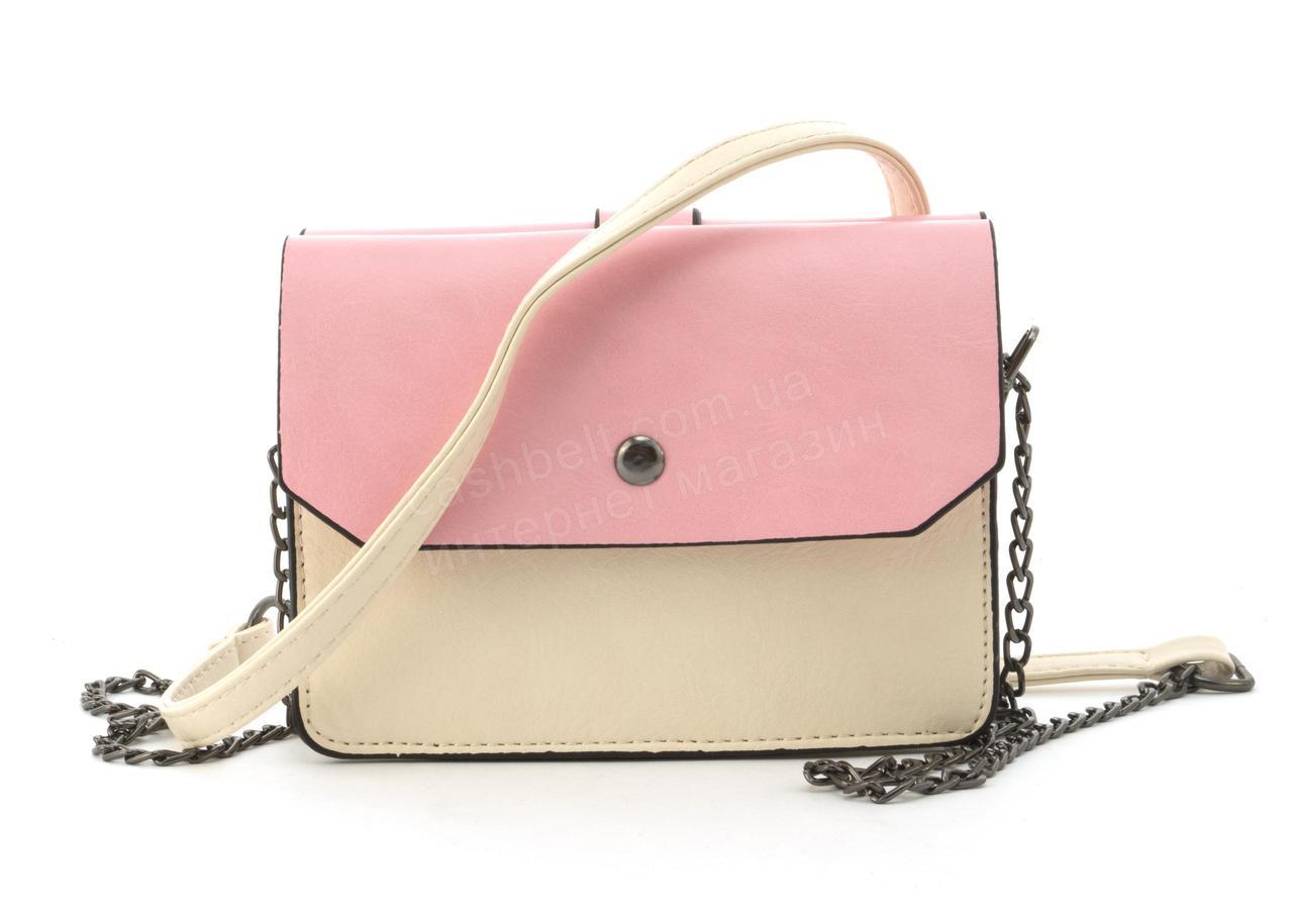 Малая вместительная яркая женская сумочка почтальонка art. 323 бежевая/розовая