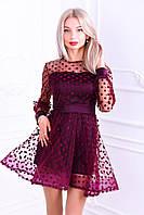 Женское короткое платье в горошек