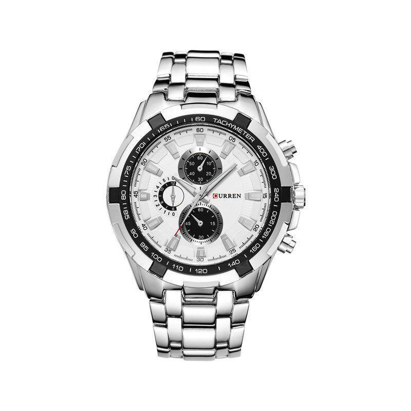 Мужские Часы Наручные Кварцевые Классические Curren (8023) 3 АТМ Серебряные с Белым Циферблатом
