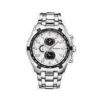Мужские наручные часы Curren 8023 кварцевые серебристые с белым