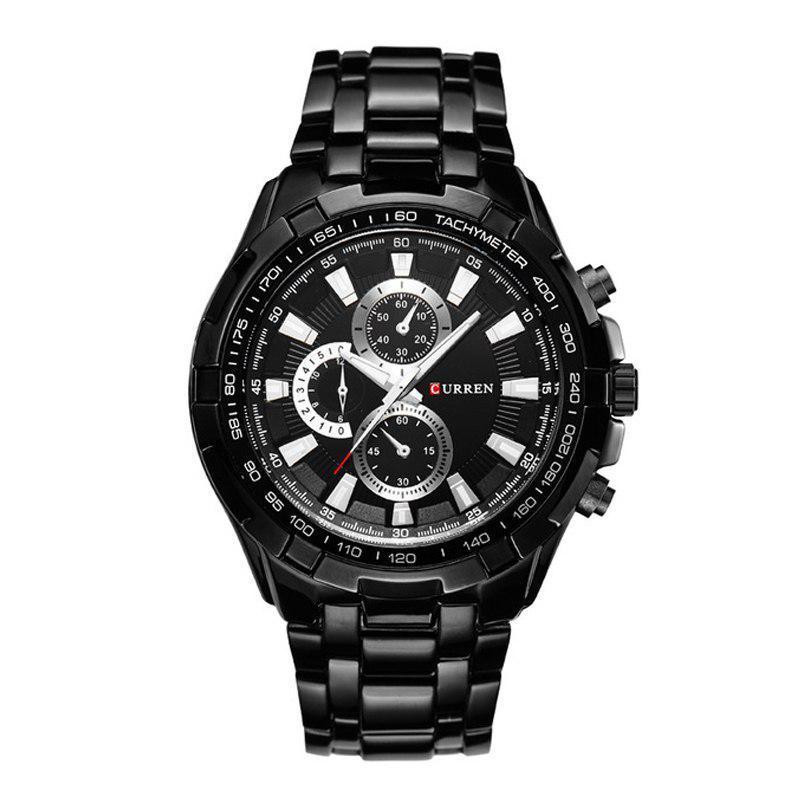 Мужские Часы Наручные Кварцевые Классические Curren (8023) 3 АТМ Черные с Черным Циферблатом