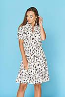 """Светло-бежевое летнее короткое платье с коротким рукавом в мелкий принт бабочки рюша """"Ясмина"""" 15"""