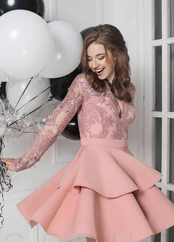 Ефектна вечірня сукня гіпюр паєтки розова   розмір 42,44,46, фото 2
