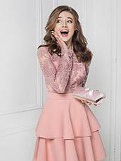 Ефектна вечірня сукня гіпюр паєтки розова   розмір 42,44,46, фото 3