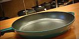Сковорода сотейник с деревянной ручкой d=240, h=60, покрытая цветной глянцевой эмалью. Зеленый цвет, фото 4