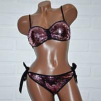 Раздельный купальник с двухсторонней пайеткой, черный,розовый, размер L, на завязках, с push-up