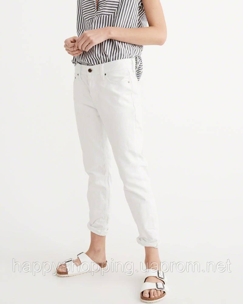 Женские белые джинсы,-бойфренды популярного бренда Abercrombie & Fitch