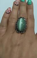 Кольцо серебряное Луиза с зеленым улекситом кошачий глаз , фото 1