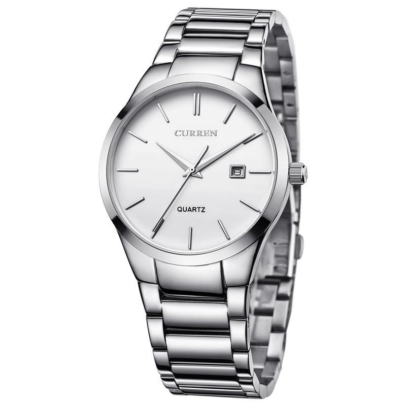 Мужские Часы Наручные Кварцевые Классические Curren (8106) 3 АТМ Серебряные с Белым Циферблатом