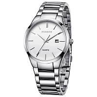 Мужские наручные часы Curren 8106 кварцевые серебристые с белым