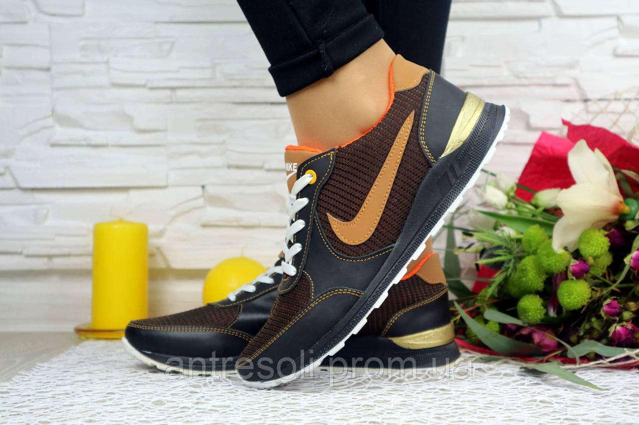 Женские кроссовки Nike Синий\Рыжий плотная сетка 10802