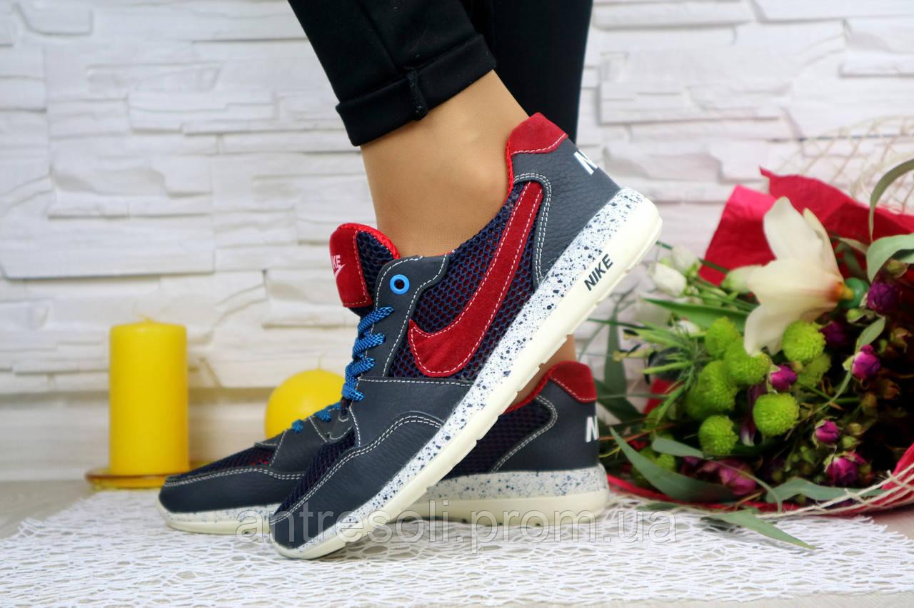 Женские кроссовки Nike Синий\Красный плотная сетка 10800