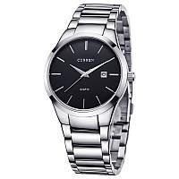 Мужские наручные часы Curren 8106 кварцевые серебристые с черным